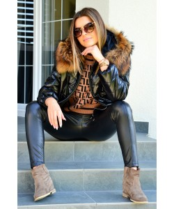 Modna kurtka z kapturem Tina czarna