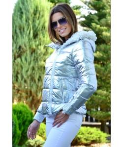 Pikowana kurtka z barankiem S-L K02 srebrna 1