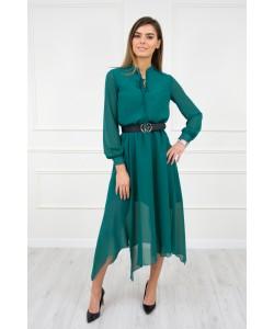 Stylowa sukienka z wycięciem S-M Simona zielona 1
