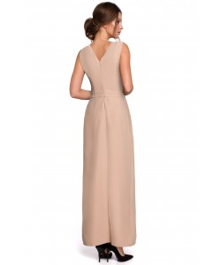 Długa elegancka sukienka S-XXL Selena beżowa 1