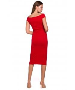 Kobieca sukienka midi S-XXL K001 czerwona 1