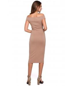 Zmysłowa sukienka midi S-XXL K001 beżowa 1