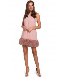 Trapezowa sukienka damska S-XXL K038 pudrowy róż 1