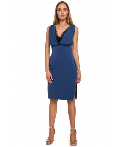 Sukienka z koronkowym dekoltem niebieski