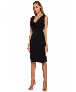 Sukienka z koronkowym dekoltem M486 czarna