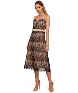 Koronkowa sukienka na ramiączkach M483 beż plus czarny