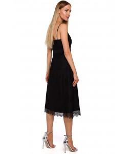 Koronkowa sukienka na ramiączkach M483 czarny