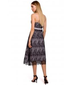 Koronkowa sukienka na ramiączkach M483 szary plus czarny