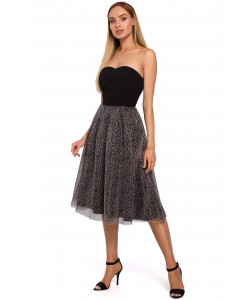 Okazjonalna sukienka z gorsetem panterka M482 czarny