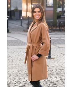 Wiązany płaszcz z klapami Lukrecja brąz krótki BLD