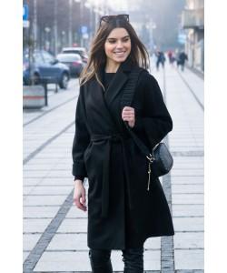 Wiązany płaszcz z klapami Lukrecja czarny krótki BLD