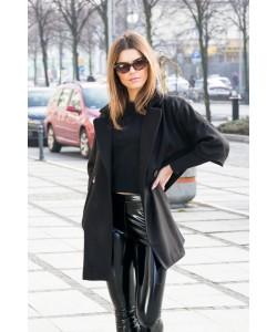Elegancki płaszcz na guzik Oliwia czarny
