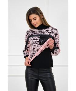 Golf czarny + bluzka siatka róż