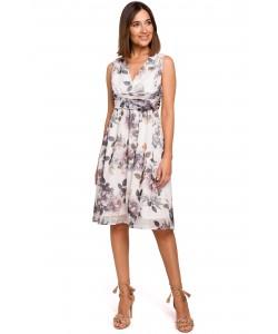 Zwiewna weselna sukienka w kwiaty S225/model 1