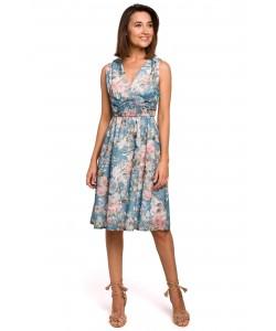 Zwiewna weselna sukienka w kwiaty S225/model 2