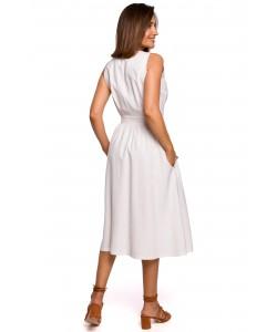 Rozkloszowana sukienka zakładany dekolt S224 Ecru