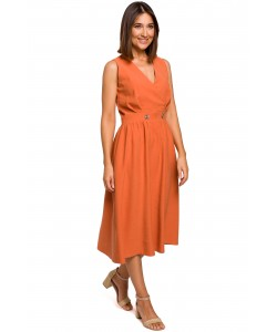 Rozkloszowana sukienka zakładany dekolt S224 pomarańczowa