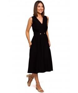 Rozkloszowana sukienka zakładany dekolt S224 czarny