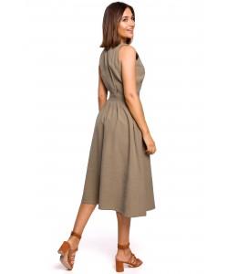Rozkloszowana sukienka zakładany dekolt S224 khaki
