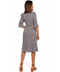 Sukienka zapinana na guziki S223 biało-czarna