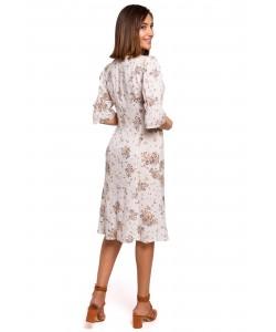 Sukienka o fasonie rybki z rękawkami S223 ecru
