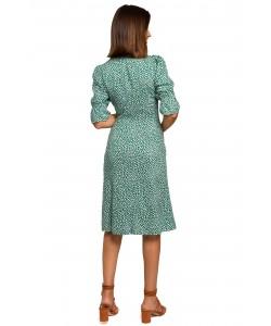 Sukienka o fasonie rybki z rękawkami S223 zielona