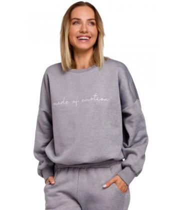 Bluza z napisem Made of emotion Stalowy