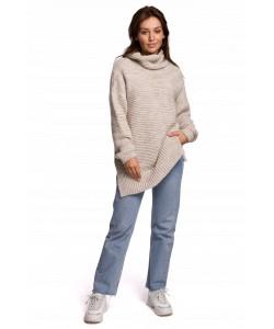 Długi sweter z golfem BK047 beżowy
