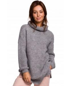 Długi sweter z golfem BK047 Uniwersalny grafitowy