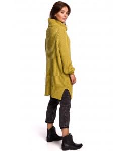 Długi sweter z golfem BK047 Uniwersalny limonkowy
