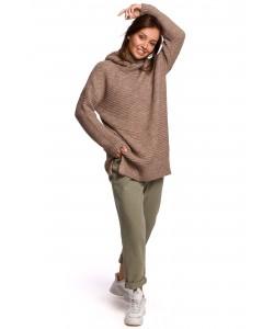 Długi sweter z golfem BK047 Uniwersalny cappuccino