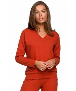 Prosty sweterek dresowy K246 S-XXL rudy 1