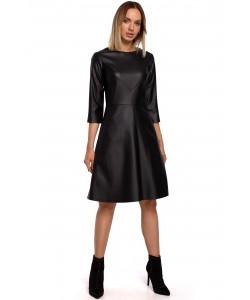 Sukienka ze sztucznej skóry M541 czarna