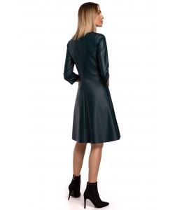 Sukienka ze sztucznej skóry M541 zielona