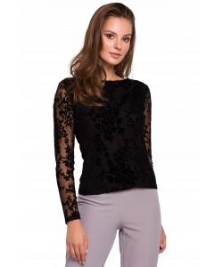 Piękna koronkowa bluzka 36-44 K024 czarna 1