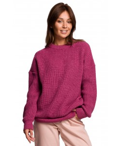 Klasyczny sweter gruby prążek BK052 wrzosowy
