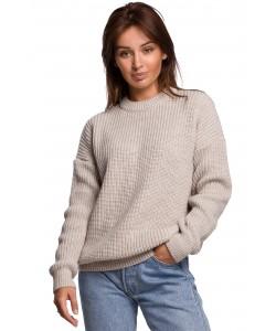 Klasyczny sweter gruby prążek BK052 beżowy