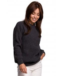 Klasyczny sweter gruby prążek BK052 grafitowy