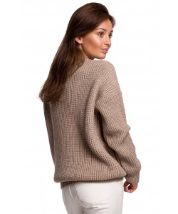 Klasyczny sweter gruby prążek BK052 cappuccino