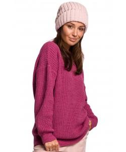 Zimowa czapka gruby prążek BK058 Różowy
