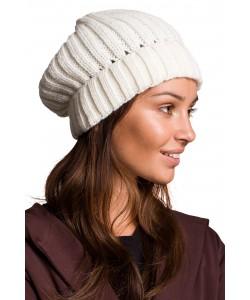 Zimowa czapka gruby prążek BK058 Ecru