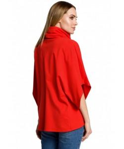 Luźna bluzka na zakładkę z golfem M372 czerwony