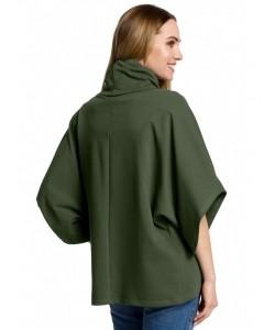 Luźna bluzka na zakładkę z golfem M372 zielony