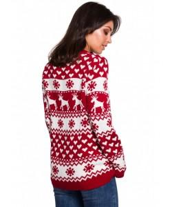 Świąteczny sweter renifer S-XL BK039 Czerwony model 1
