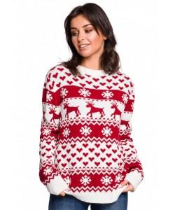Świąteczny sweter renifer S-XL BK039 Czerwony model 2