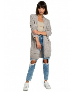 Długi niezapinany sweter BK001 brązowy