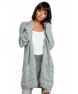 Długi niezapinany sweter BK001 grafitowy