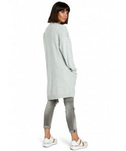 Długi niezapinany sweter BK001 szary