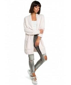 Długi niezapinany sweter BK001 różowy