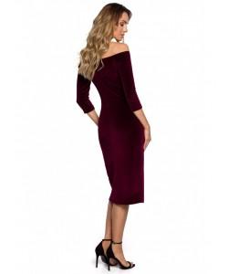 Welurowa sukienka z rozięciem M559 bordowa